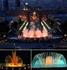 Magic Fountain of Montjuic (Barcelona) - The Magic Fountain of Montjuic is a spectacular display of colour, light, motion, music and water acrobatics in Barcelona. Located between Placa d'Espanya and the National Palau, the magic fountain attracts thousands of tourists every night. Built by designer Carles Buigas in 1929 for the Great Universal Exhibition, over 3000 workers were commissioned to work on the project for less than a year.