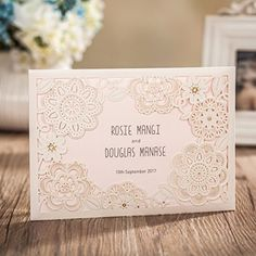 Wishmade 1x Ivory Vertical Laser Cut Wedding Invitations Cards Kits with Embossed Hollow Flora Favors with RSVP Cards Used for Bridal Shower Engagement Quinceaneras * Check this awesome product by going to the link at the image.