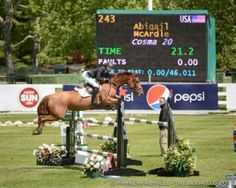 Abigail McArdle and Cosma 20 won the $3,500 Trimac Junior/Amateur Jumpers and the $5,000 AECOM Junior/Amateur Cup at Spruce Meadows. (Photo by Parker/Russel - The Book, LLC)