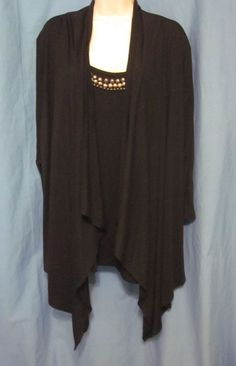 Ruby Rd Woman 1x Womens Sweater Top Attached Black Open Cardigan Metal Beads
