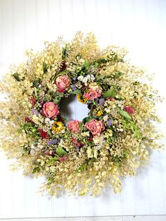 Dried Floral Wreath Prairie Wreath Dried by summersweetboutique,