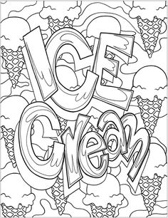 New Grafitti Art Coloring Book from Dover Publications | Ice Cream Grafitti | Free Printable Adult Coloring Page