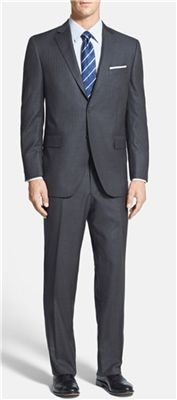 Peter Millar - Flynn Classic Fit Stripe Suit: When you buy a new suit for New Year's Eve, its great when it's a style that you can also wear throughout winter, like this one.