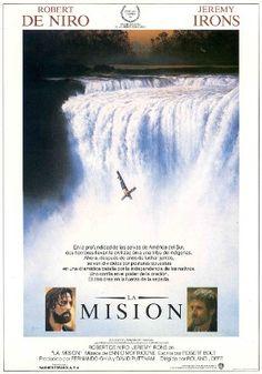 """Cartel de la película """"La misión"""" con Robert de Niro y Jeremy Irons."""