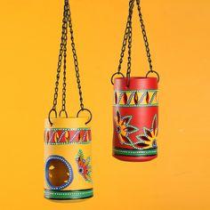 'Two-Dabbas Of Light' Terracotta Hanging Tea-Light Holders (Set Of Hanging Tea Light Holders, Hanging Tea Lights, Bottle Painting, Bottle Art, Bottle Crafts, Diwali Diy, Diwali Craft, Cool Paper Crafts, Creative Crafts