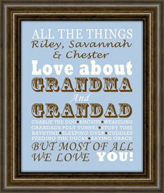 Gifts for Grandparents - Personalized Grandparent Print - Gifts for Grandparents - Christmas Gift