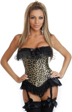 e6d74e1948 Sexy Leopard Lace Corset Plus Size Corset Dress