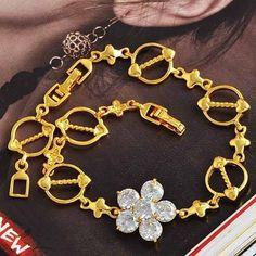 "Shinning Yellow Gold Filled White CZ ""Flower"" Womens Bracelet,210*16mm,B247"
