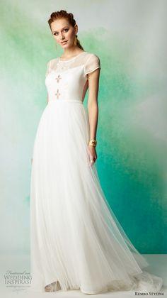 rembo styling 2017 bridal cap sleeves illusion jewel neckline light embellished bodice tulle skirt romantic a  line wedding dress illusion back sweep train (ameda) mv