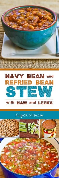 Navy Bean and Refried Bean Stew with Ham, Leeks, and Tomatoes is deliciously healthy and easy to make, and this is a great soup that's a bit different to use leftover holiday ham.  [found on KalynsKitchen.com]