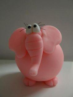 elefanta porcelana fria polymer clay fimo modelado figurine topper pasta…