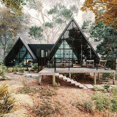 Villa Design, Cabin Design, House Design, Design Design, Render Design, Wood Design, Design Ideas, A Frame House Plans, A Frame Cabin