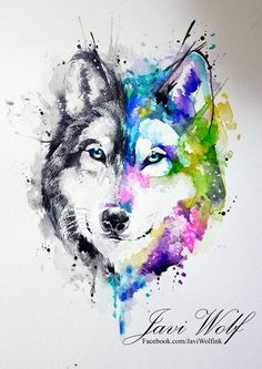 Watercolor wolf - other suggestion with Scottish flag behind it tatuajes Wolf Tattoos, Wolf Tattoo Back, Small Wolf Tattoo, Wolf Tattoo Sleeve, Sleeve Tattoos, Two Wolves Tattoo, Pretty Skull Tattoos, Lace Skull Tattoo, Fake Tattoo Sleeves