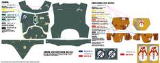 """Paint By Numbers"""" Humbrol Visual Guide - Esb & Rotj Helmet & Esb pertaining to All Boba Fett Armor Stencils And Templates Boba Fett Armor, Boba Fett Costume, Boba Fett Helmet, Star Wars Boba Fett, Fallout Cosplay, Cosplay Weapons, Cosplay Armor, Mandalorian Cosplay, Painting Templates"""