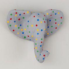 Polka Dot paper mache elephant wall decor.