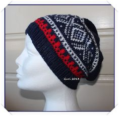 Hjerte GO`H Design: Marius-mønster Norwegian Knitting, H Design, Knitting Projects, Scandinavian, Knitted Hats, Beanie, Pattern, Handmade, Inspiration