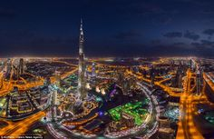 One of the challenges to the group is that the drones have to be stationary while they take the images due to the prolonged exposure. Above, the Burj Khalifa in Dubai