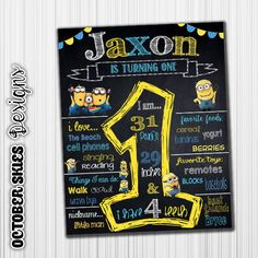 Minion Birthday Chalkboard Banner Poster by OctoberSkiesDesigns
