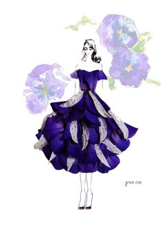 Layered violet dressfor 313 Fall Campaign