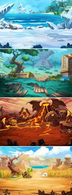 游戏美术资源 Q版 神奇宝贝UI素材/界... Game 2d, Global Map, Game Environment, Game Background, Video Game Art, Game Design, Concept Art, Character Design, Scene