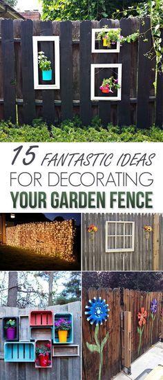 15 Fantastic Ideas For Decorating Your Garden Fence - Diy Garden Decor İdeas Backyard Fences, Garden Fencing, Backyard Landscaping, Farm Fence, Landscaping Ideas, Patio Fence, Diy Fence, Modern Backyard, Pool Fence