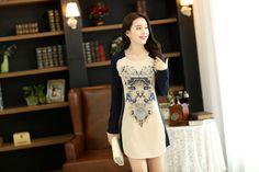 Printed round collar dress long sleeve dress ghl1017, yrb, fashion, yrbfashion, cute dress, cute, uk europe usa style, asian fashion, asian ...