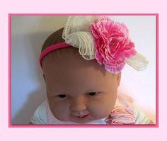 baby girl headband pinkwhite headband girl pink headband