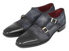 Paul Parkman Handmade Shoes, Paul Parkman Men's Captoe Double Monkstraps Navy Suede (ID#FK77W)