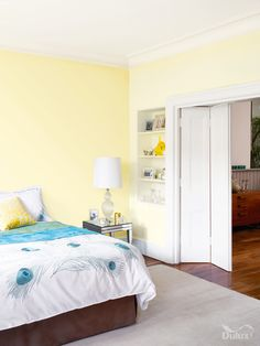 This roomset uses zesty yellow and pale tones to create a beach theme, whilst accents of blue invoke the deep blue sea. What do you think of yellow walls? Interior Paint Colors For Living Room, Bedroom Wall Colors, Accent Wall Bedroom, Room Paint Colors, Small Room Bedroom, Bedroom Decor, Yellow Painted Rooms, Yellow Kids Rooms, Pale Yellow Bedrooms
