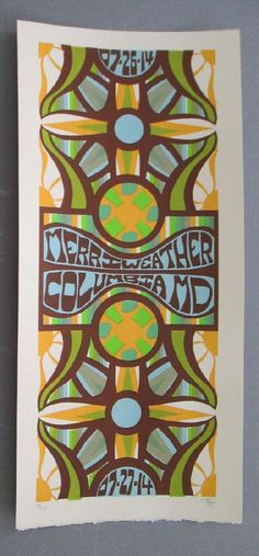 Original silkscreen concert poster Phish at Merriweather Post Pavilion in Columbia, Maryland in 2014. 10 x 22 inches. It is printed on Watercolor Paper with Acrylic Inks. The poster is signed and numbered out of only 170 by the artist Tripp.