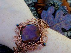 Red Creek Jasper wired wrapped bracelet. wire wrapped jewelry handmade