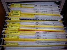 Love how this Pro. Organizer actually lists her categories, in paper organization! Organizing Paperwork, File Organization, Home Office Organization, Organizing Tips, Project Steps, Work Project, Paper Clutter, Home Management, Filing System