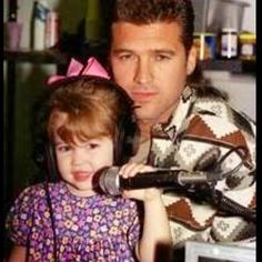 Pin for Later: Go Back in Time With These Adorable Throwback Photos of Celebrities With Their Dads Miley Cyrus Miley posted this photo of her and her dad, Billy Ray Cyrus, at the studio back in the day.