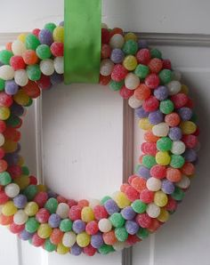 """a pretty cool life.: Goody goody gumdrops wreath  10"""" foam wreath; about 3 pounds gum drops; wrap top part with packing tape and then with lots of florist wire to hang (gets heavy!!)"""