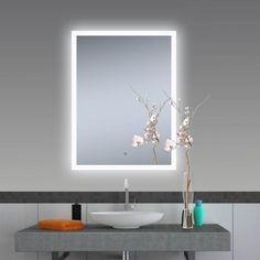 New bathroom mirror led shelves ideas Glass Shelf Brackets, Glass Wall Shelves, Diy Vanity Mirror, Bathroom Mirror Lights, Backlit Mirror, Led Mirror, Mirrors, Interior Design Toilet, Diy Mirrored Furniture