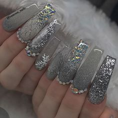 50 Coffin Acrylic Nail Designs For Short Nails Best Acrylic Nails, Acrylic Nail Designs, Cute Nail Designs, Fabulous Nails, Gorgeous Nails, Pretty Nails, Xmas Nails, Christmas Nails, Christmas Time
