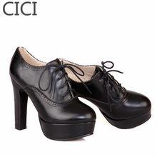 CC 2016 Big Size Spring Vintage Shoes High Heel Platform Fashion Shoes Plus Size lacing Women's Pumps 34-43  12CM(China…