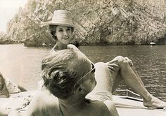 Babe Paley with Truman Capote in Capri. c. 1960s.