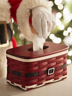 Santa Belly Tissue Basket w/WoodCrafts Lid-62922