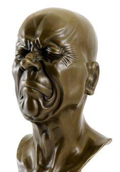 Bronze-Kopf mit zusammengekniffenen Augen - Messerschmidt
