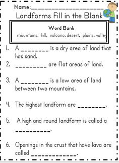 Landforms Word Search 1 165 1 590 Pixels