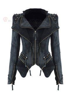 Lapel Rivet Zipper Slim Denim Coat Women Jackets - BuyTrends.com
