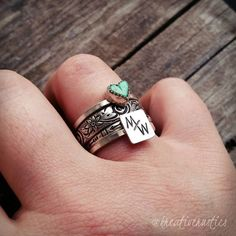 Stacking Ranch Brand Ring Set, Rustic Floral Heart Turquoise