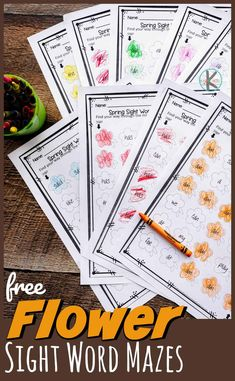 FREE Flower Sight Word Maze - help pre k, kindergarten, and first grade students practice - Art Sketches Word Work Activities, Spring Activities, Activities For Kids, Sight Words Printables, Sight Word Worksheets, Teaching Kindergarten, Kindergarten Worksheets, Teaching Ideas, Preschool