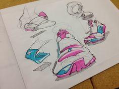 Shoe design sketches by Jonathan Langer Basic Sketching, Shoe Illustration, Tinker Hatfield, 8th Grade Art, Shoe Sketches, Industrial Design Sketch, Love Design, State Art, Product Design