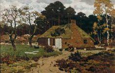 """Edzard Koning - """"Boerderij in de schemering"""", Nunspeet, ca. 1905, collectie Drents museum"""