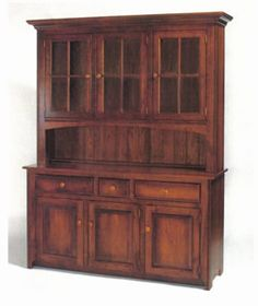 Amish Furniture Shaker Style Three Door Hutch
