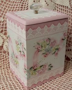 Hand Painted Vintage Box Cottage Chic Pink Roses Hydrangeas Shabby Lace HP