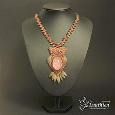 Rhaenyra 01 by Luuthien - necklace, bead embroidery, owl, swarovski
