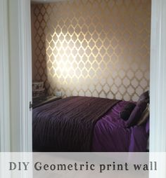 Tutorial on how you can create a geometric print wall in your own home using spray paint and a stencil. Accent Wall Bedroom, Home, Geometric Wall Paint, Stencils Wall, Living Room Grey, Wall Prints, Cool Walls, Wall Design, Master Bedrooms Decor